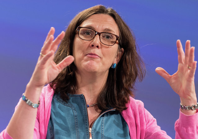 EU Commissioner for Trade Cecilia Malmstrom addresses the media at the European Commission headquarters in Brussels