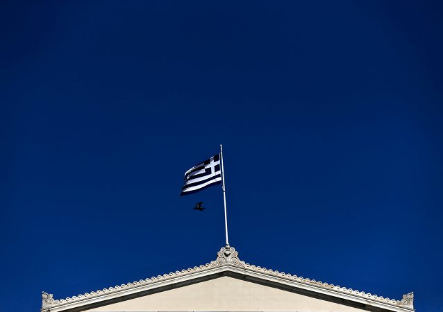 A Greek national flag
