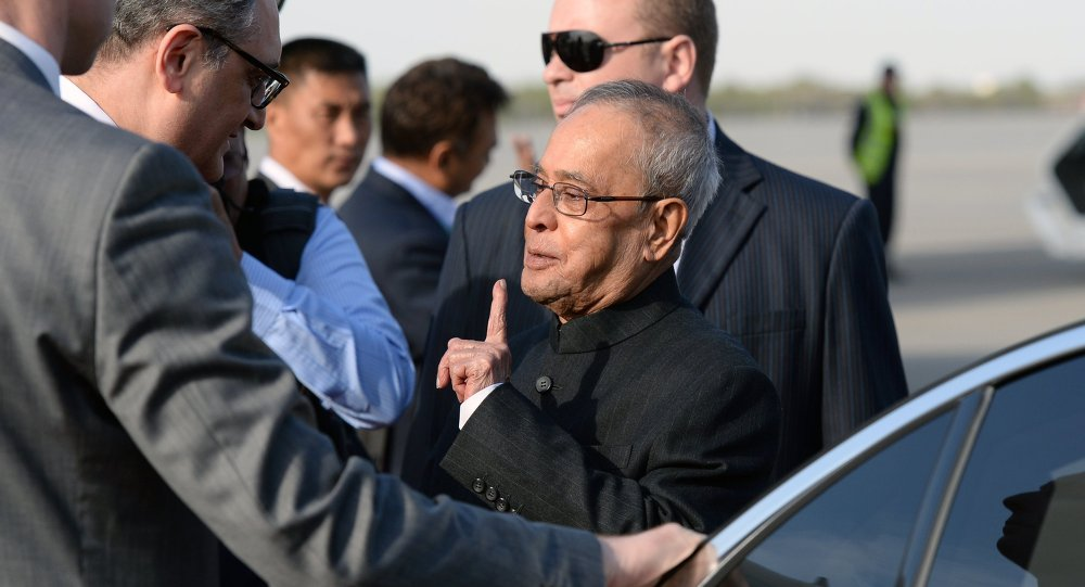 President of India Pranab Mukherjee arrives in Moscow