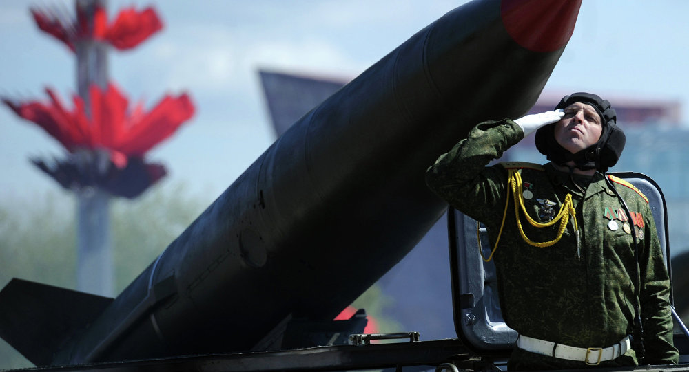 This file photo shows Belarusian military troops take part in the Victory day parade in Minsk on May 9, 2015