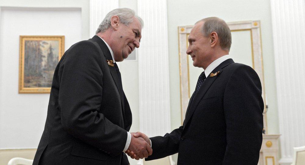 Russian President Vladimir Putin meets with President of Czech Republic Milos Zeman
