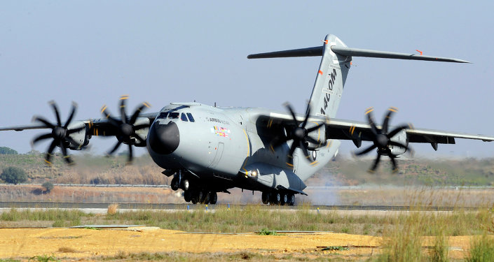 A file picture taken on December 11, 2009 shows an Airbus A400M military transporter landing in Sevilla