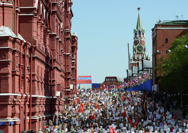 March of Immortal Regiment Moscow regional patriotic public organization on Red Square