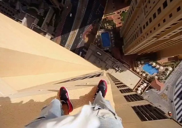 Stuntman Leaps Across Skyscraper Edges