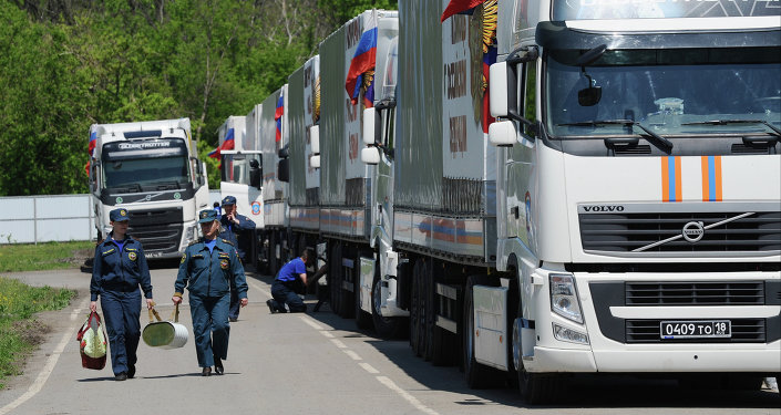 Humanitarian aid convoy in Rostov Region prepares to depart for southeastern Ukraine