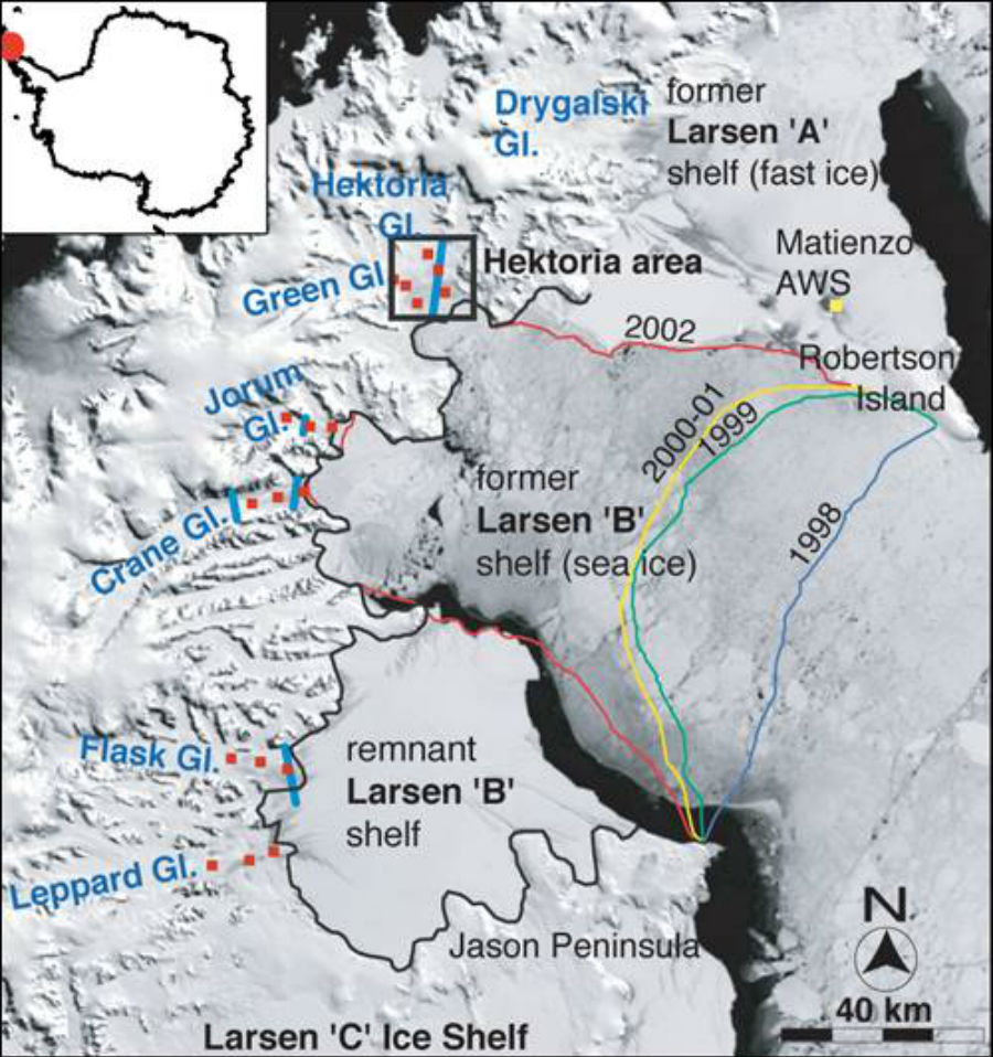 The collapse of Larsen B, showing the diminishing extent of the shelf from 1998 to 2002.