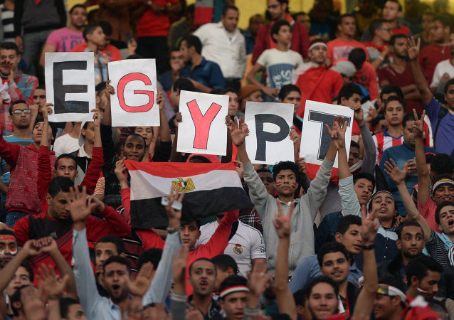 Egyptian fans carry placards and the national flag ahead of the match between Egypt and Senegal during the Africa Cup of Nations group G football match at the Cairo International Stadium in the Egyptian capital on November 15, 2014
