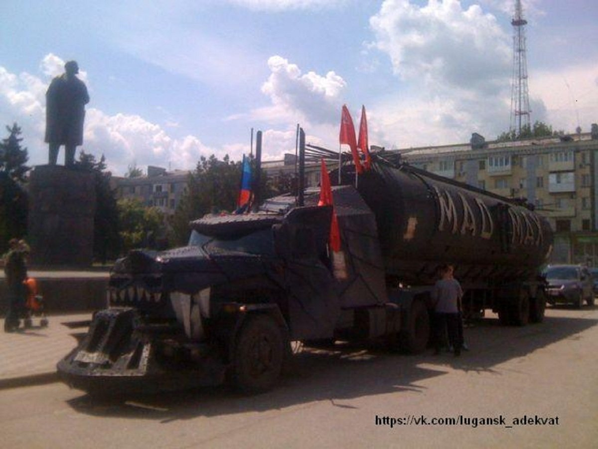 The Night Wolves' Mad Max tanker, parked in front of Theater Square, central Lugansk, in front of the city's Lenin statue.