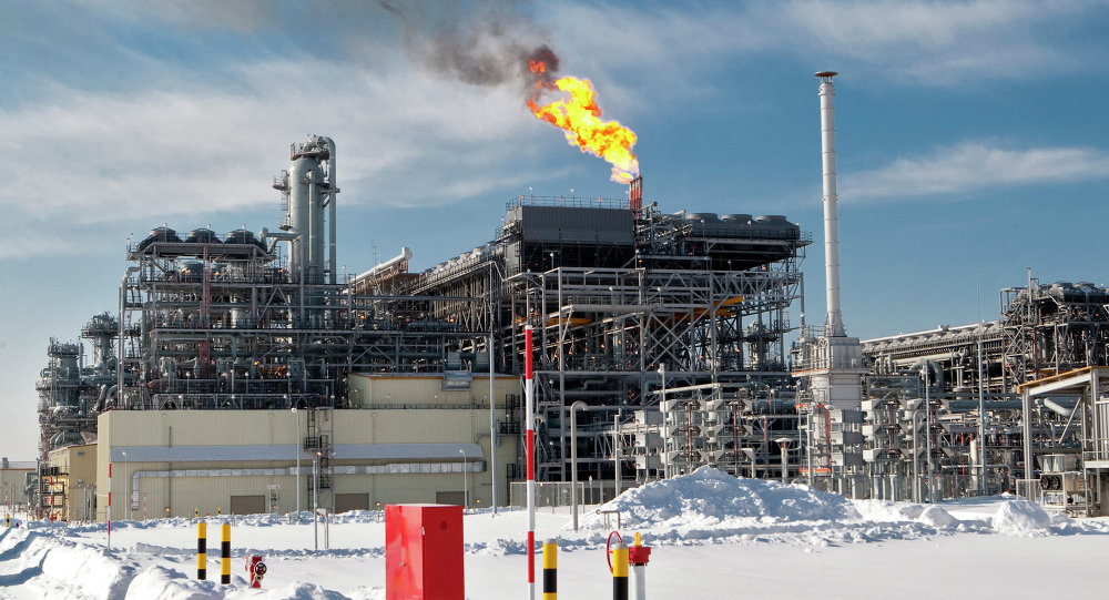 The flare system at Russia's first liquefied natural gas (LNG) plant (the Sakhalin II project), built by Sakhalin Energy Investment Company Ltd. in the village of Prigorodnoye in southern Sakhalin.