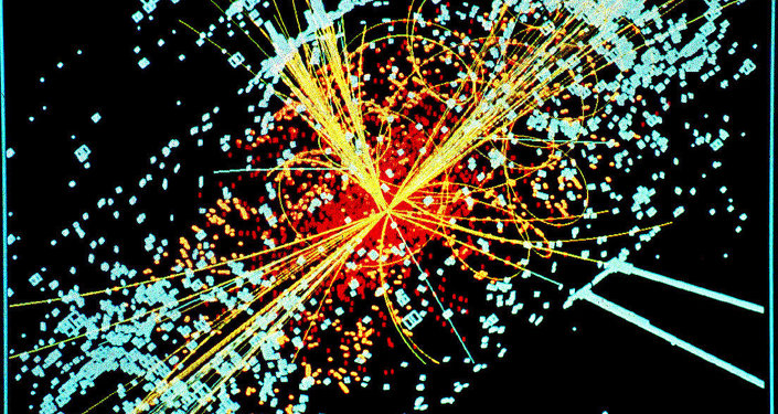 Following a collision of two protons, a Higgs boson is produced which decays into two jets of hadrons and two electrons.