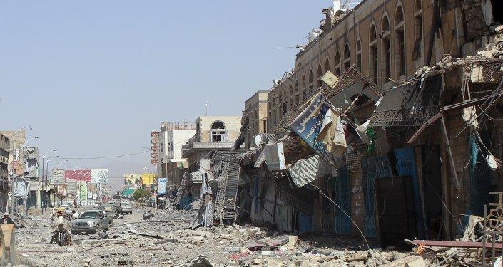 Damage is seen following a Saudi-led air strike in Yemen's northwestern city of Saada May 22, 2015