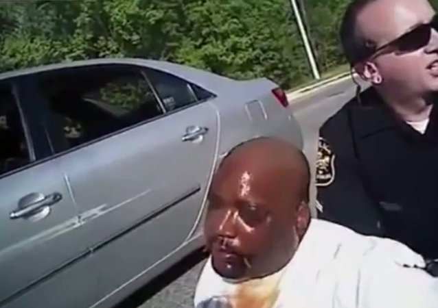 Screenshot from an officer's bodycam shows the stop of David Washington