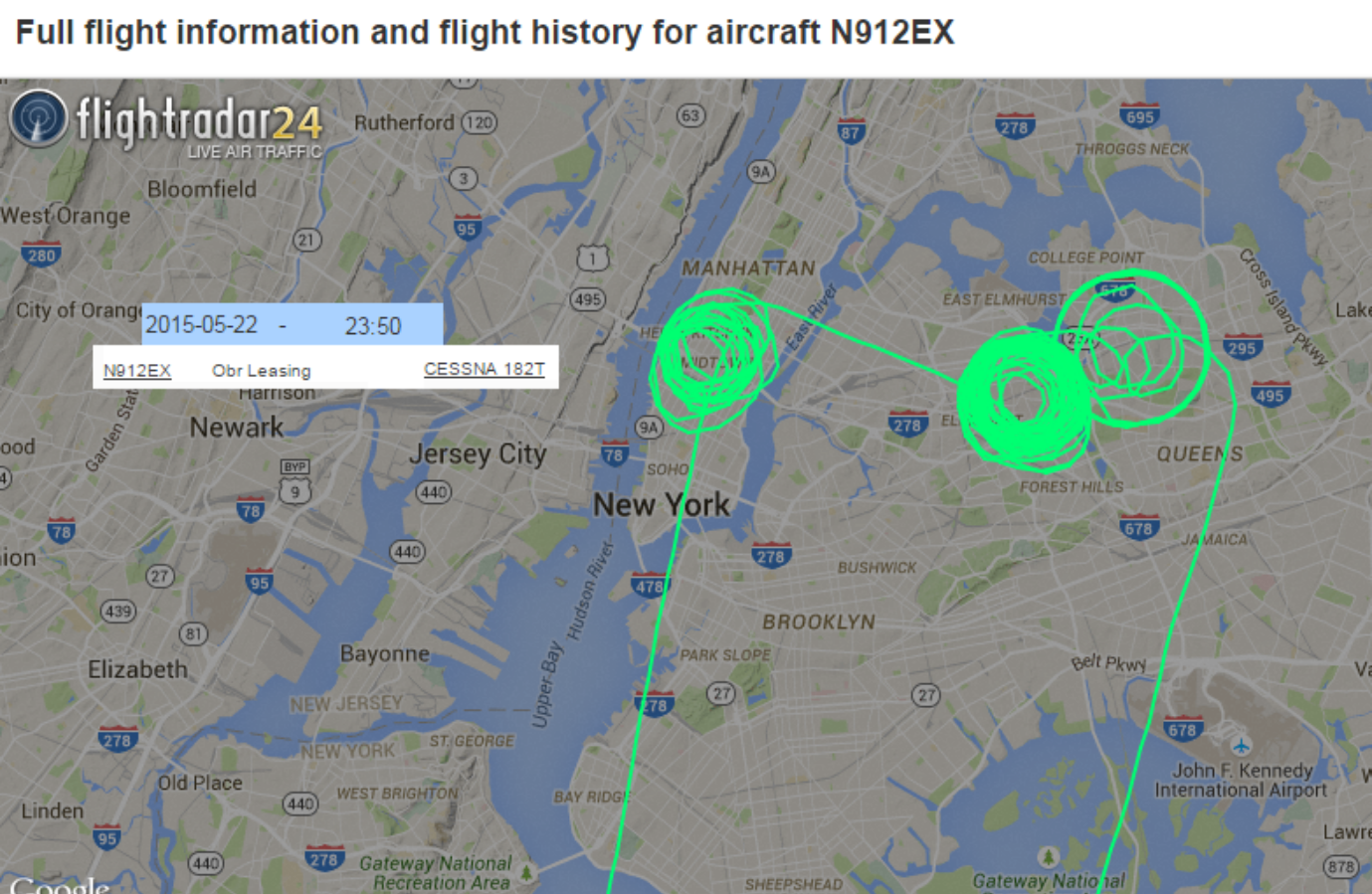 Bizarre flightpaths hovering over New York City