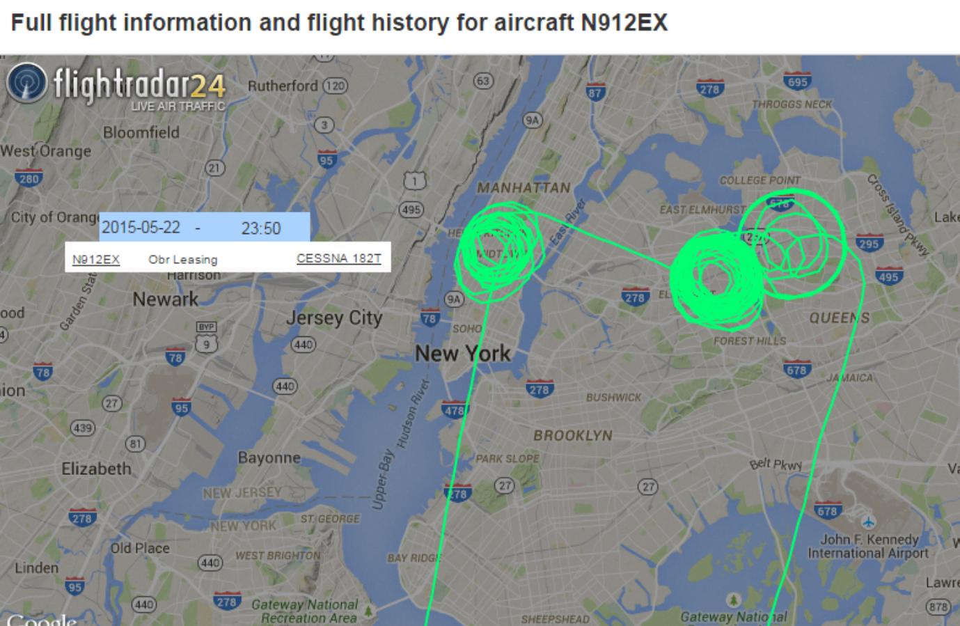 Bizarre flightpaths hovering over New York City