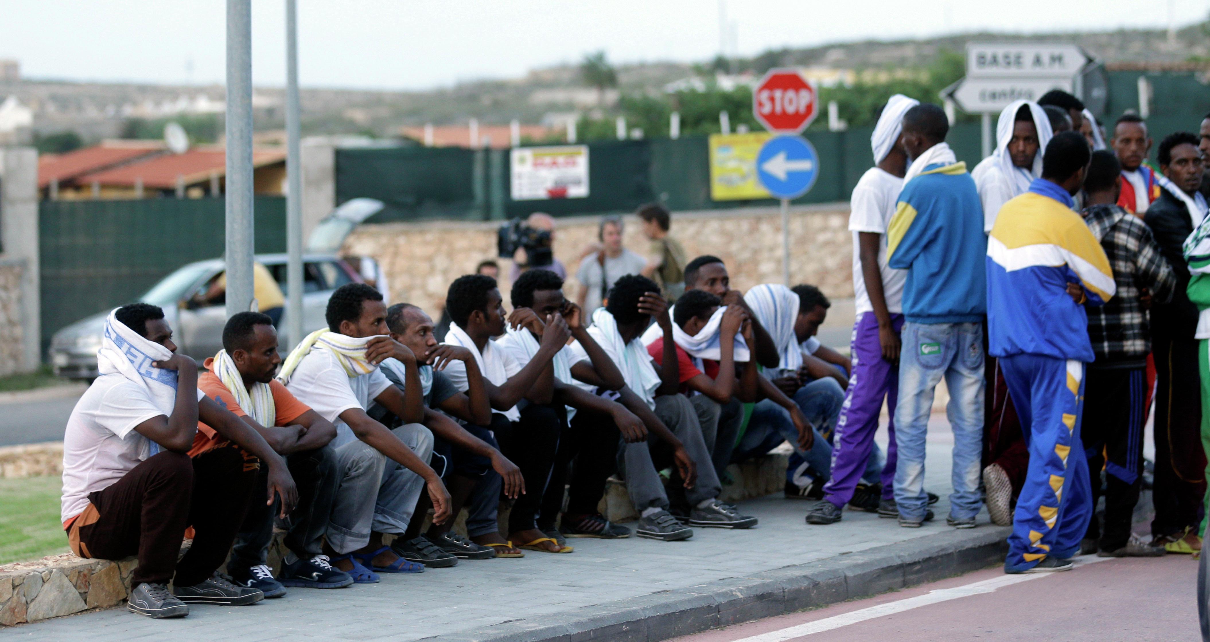 Migrants from Eritrea in Lampedusa, Italy