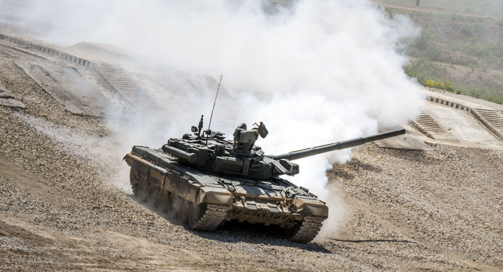 """Tank T-72B3 during equipment demonstration at the International Military-Technical Forum """"ARMY-2015"""" in Moscow region"""
