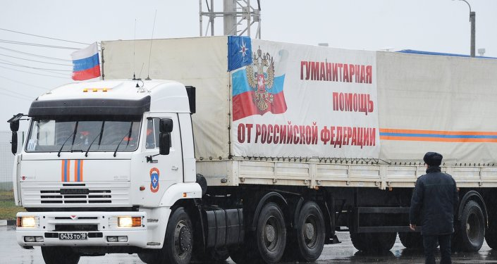 One of the trucks of the Russian humanitarian aid convoy for Donbass at the Matveyev Kurgan border checkpoint in the Rostov Region