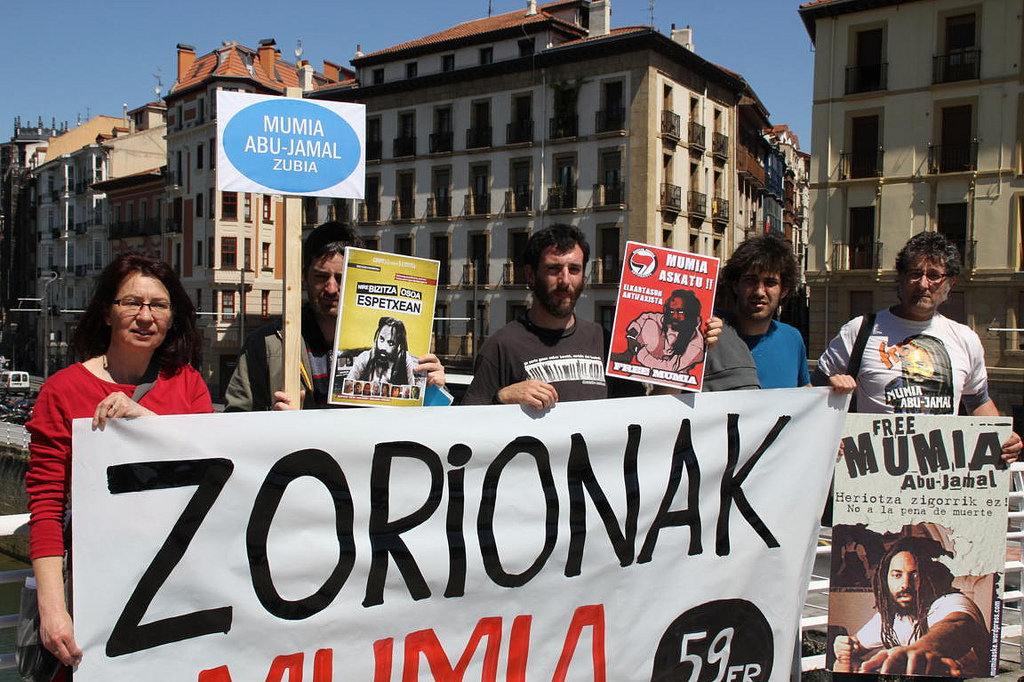 A rally for Mumia Abu-Jamal in the Basque area of Spain
