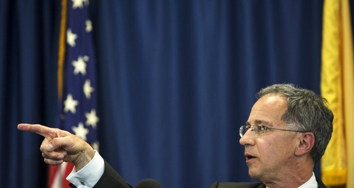 US Attorney Paul J. Fishman speaks to media