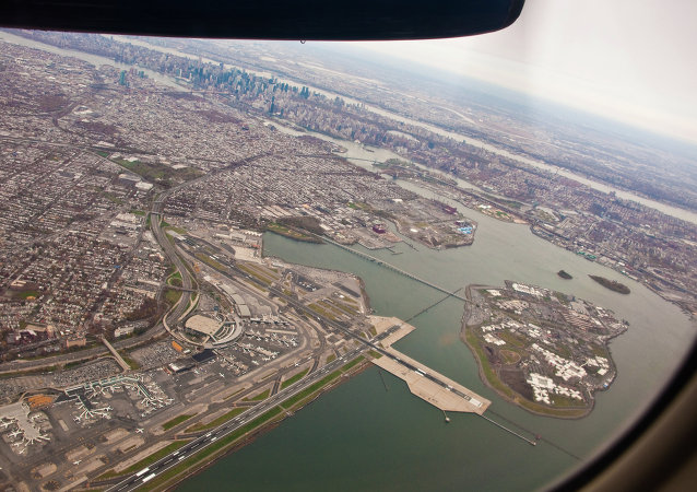 Airplane view of LaGuardia Airport.