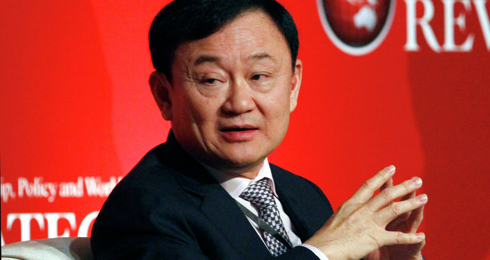 Former Thai Prime Minister Thaksin Shinawatra pauses during a business forum and the formal launch of the Indonesian Journal of Leadership, Policy and World Affairs Strategic Review in Jakarta, Indonesia