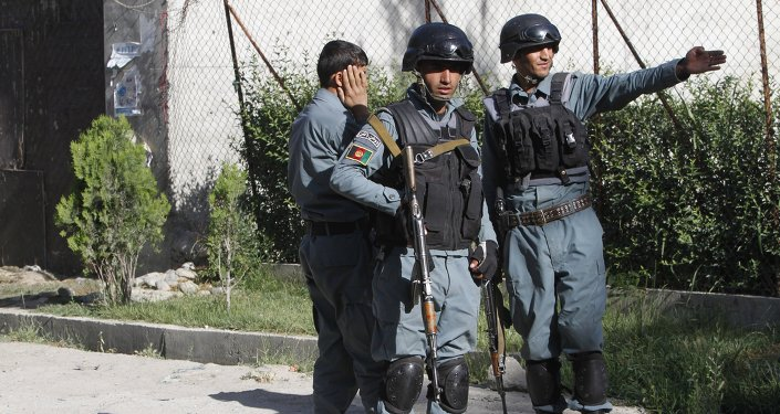 Afghanistan security forces inspect the site of attack in Kabul, Afghanistan, Wednesday, May 27, 2015