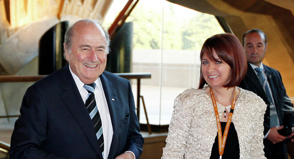 FIFA President Sepp Blatter accompanied by his daughter Corinne Blatter arrives at the Sydney Opera House for the opening ceremony for the 58th FIFA congress in Sydney, Thursday, May 29, 2008