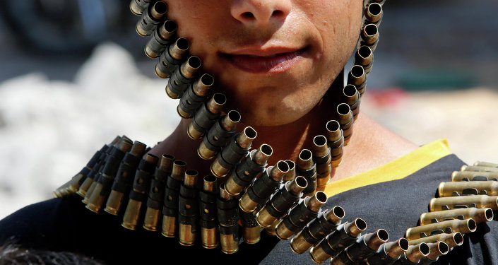 A bandolier of spent bullets