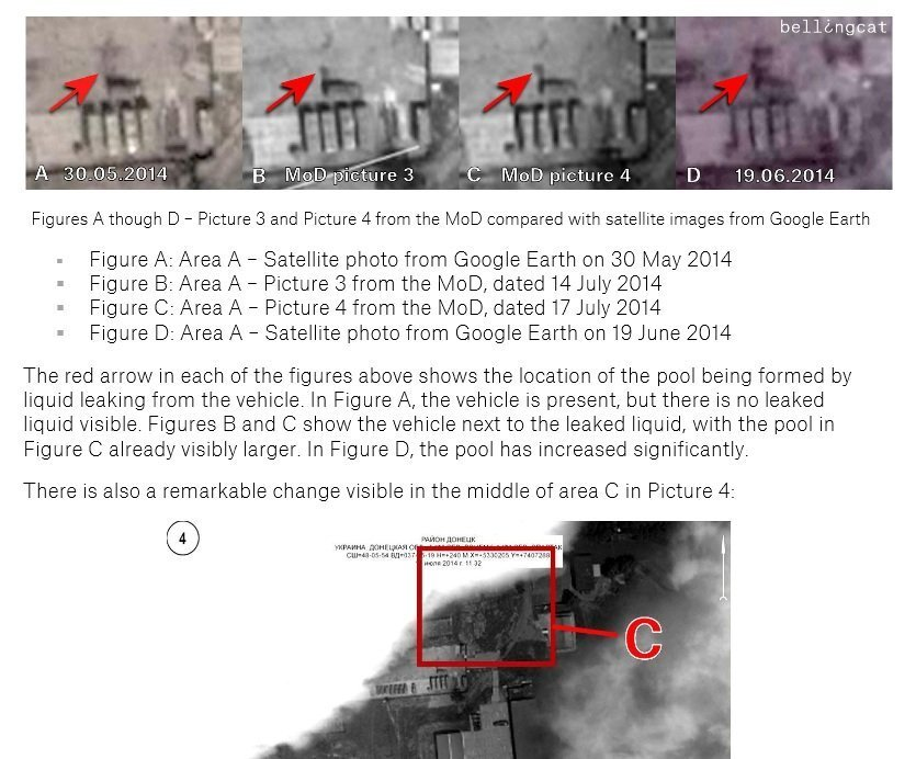 16 Figures A though D – Picture 3 and Picture 4 from the MoD compared with satellite images from Google Earth