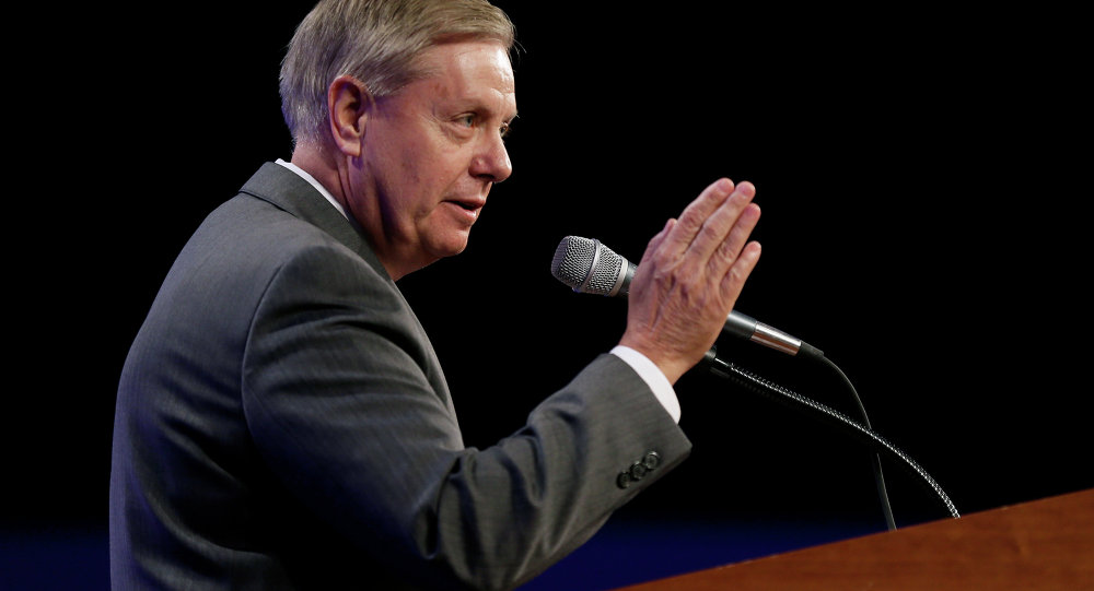 Sen. Lindsey Graham, R-S.C., speaks during the Iowa Republican Party's Lincoln Dinner