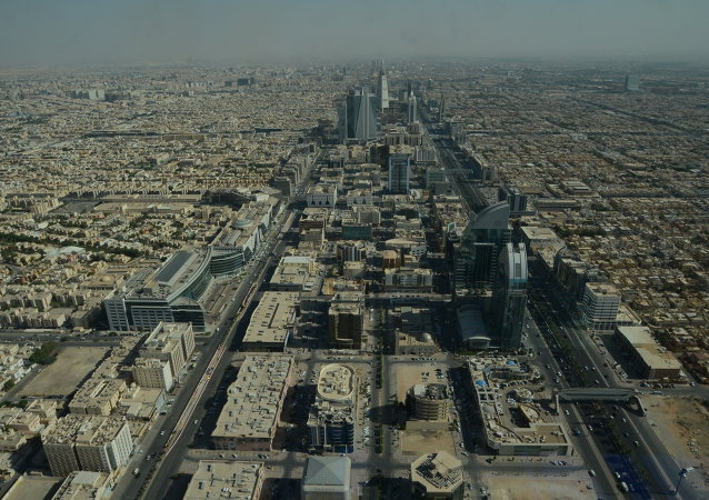 View from Kingdom Tower in Riyadh, Saudi Arabia.