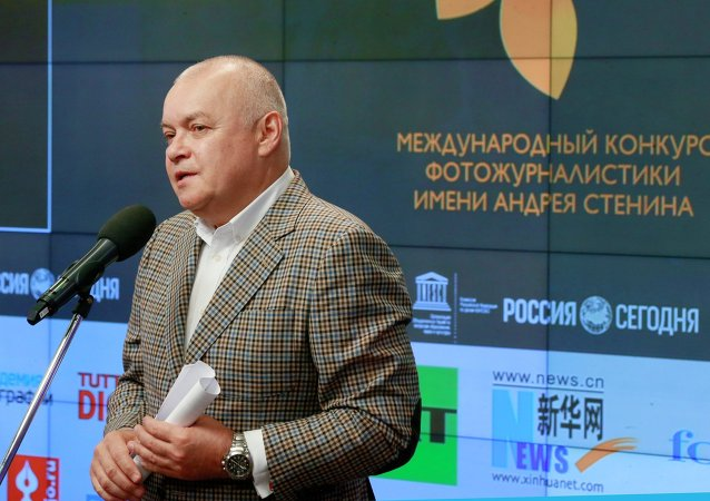 Rossiya Segodnya Director General Dmitry Kiselev at the Andrei Stenin International Press Photo Contest award ceremony.