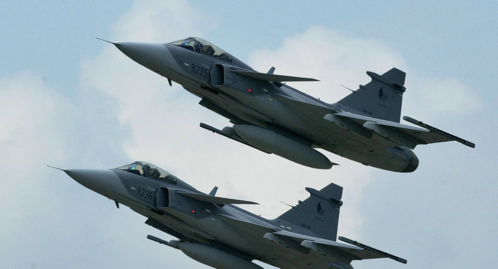 Two Supersonic JAS-39 Gripen jet fighters of Czech Air Forces