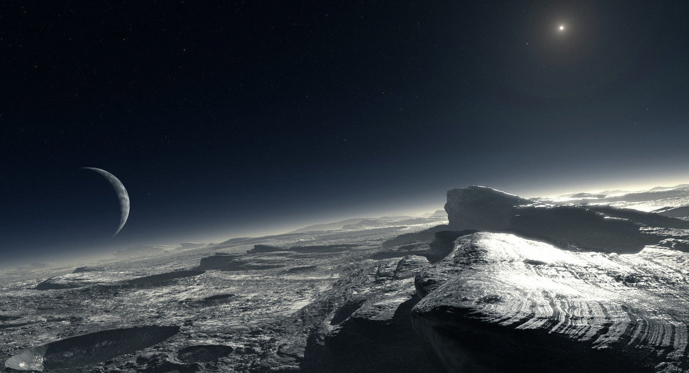 Artist's impression of Pluto's surface, with Charon in the distance.