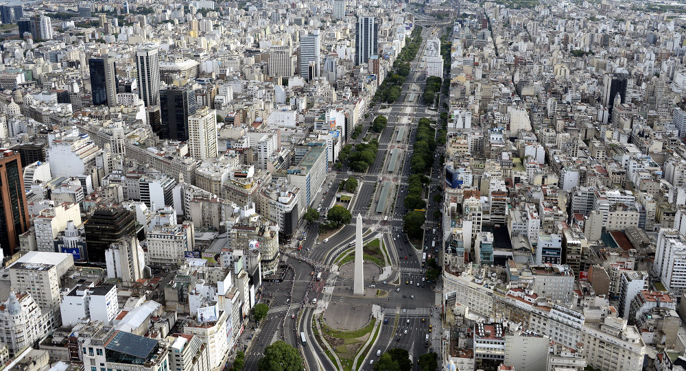 Aerial picture taken over Buenos Aires, Argentina