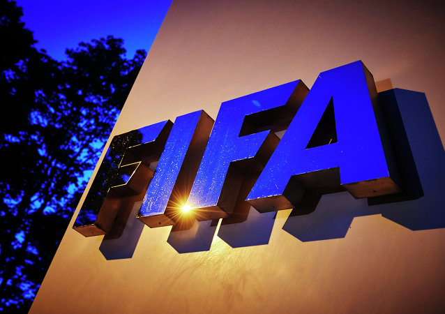 The FIFA logo is pictured at the FIFA headquarters on June 2, 2015 in Zurich