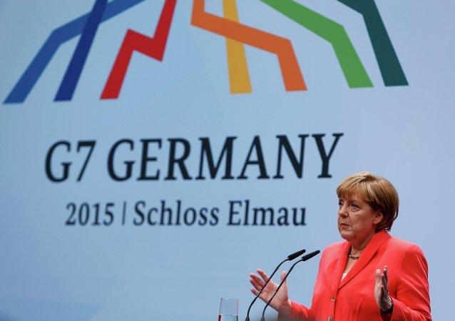 German Chancellor Angela Merkel holds a news conference during the G7 summit at Elmau Castle hotel in Kruen near Garmisch-Partenkirchen, southern Germany, June 8, 2015