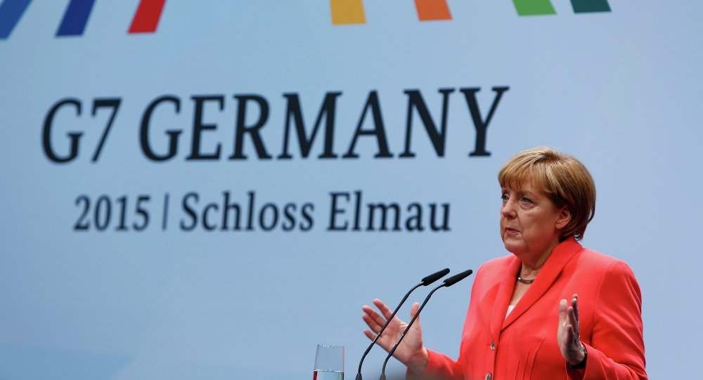 German Chancellor Angela Merkel holds a news conference during the G7 summit at Elmau Castle hotel in Kruen near Garmisch-Partenkirchen, southern Germany, June 8, 2015