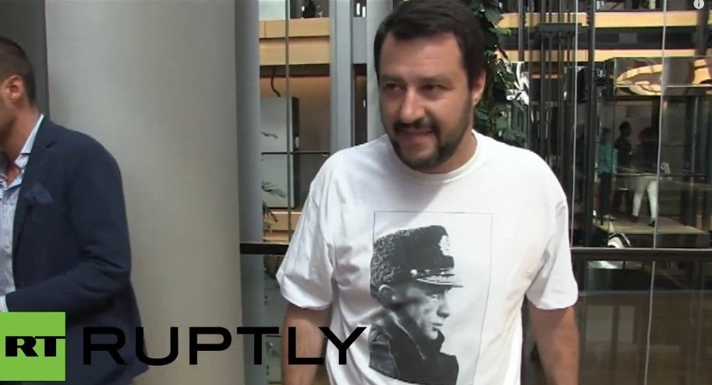 France: MEP Salvini dons Putin t-shirt in Strasbourg