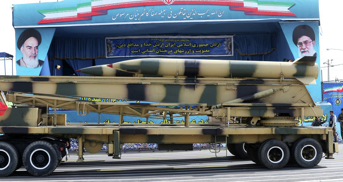 Missiles are displayed by the Iranian army in a military parade marking National Army Day in front of the mausoleum of the late revolutionary founder Ayatollah Khomeini, just outside Tehran, Iran, Saturday, April 18, 2015