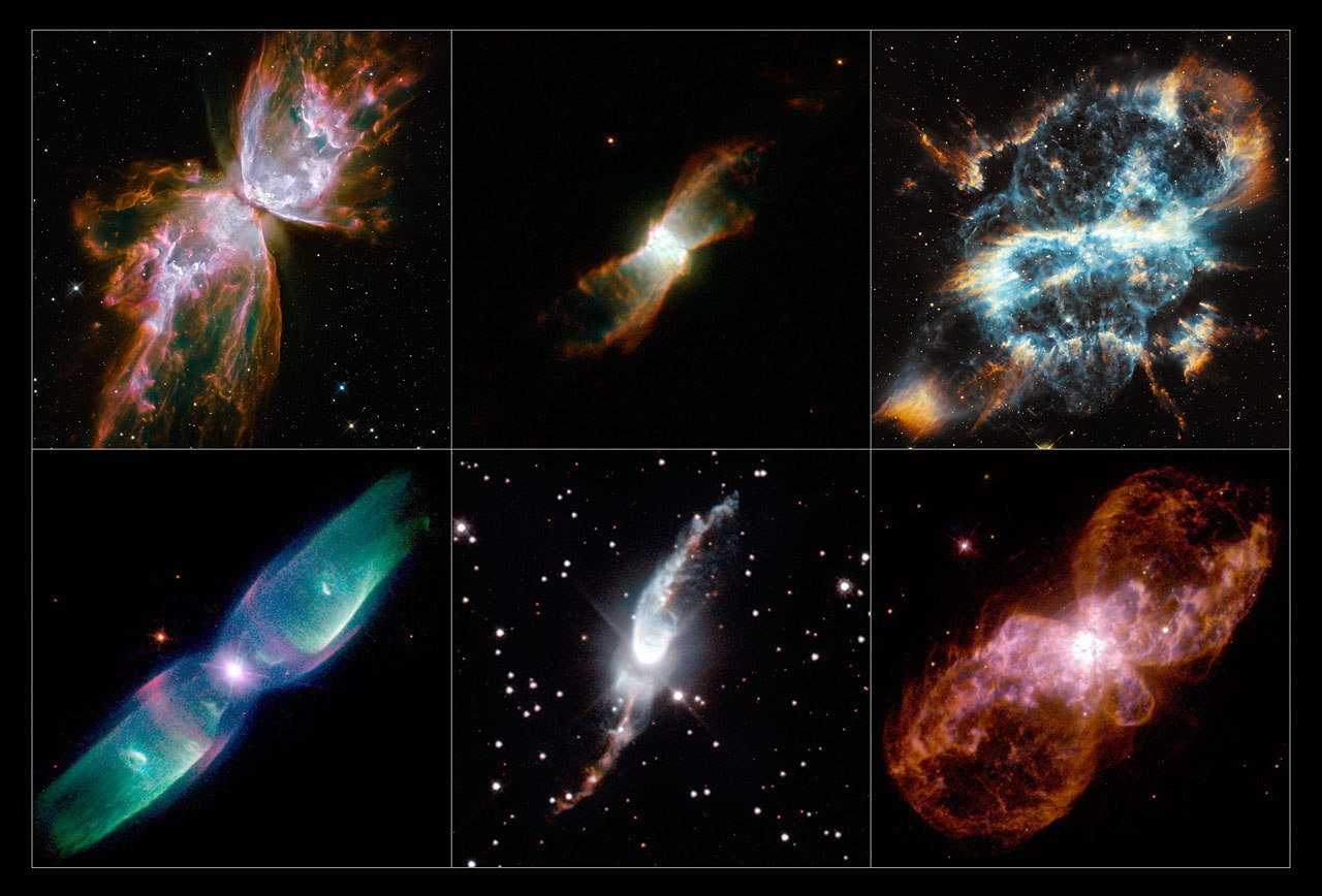 A collection of images of bipolar planetary nebulae taken by NASA's Hubble telescope.