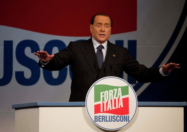 Forza Italia party leader Silvio Berlusconi delivers his message during a rally to support Forza Italia candidates for the European Parliament in Rome, Thursday, May 22, 2014