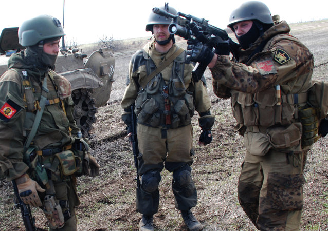 Donetsk People's Republic self-defense forces hold drills