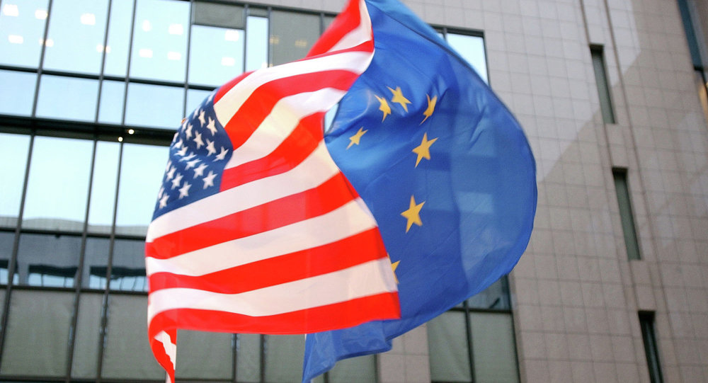 The US and EU flags, left and right, fly side by side at the European Council building in Brussels. (File)
