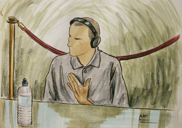 Courtroom sketch, Ali Hamza al Bahlul appears before a military commission at Guantanamo Naval Base in Guantanamo, Cuba. (File)