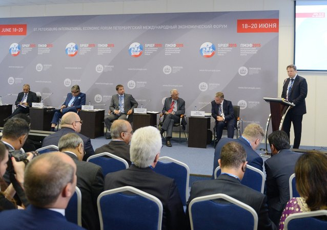Business roundtable, Russia-India: mutual investment opportunities, at 2015 St.Petersburg International Economic Forum