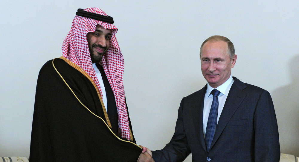 President Vladimir Putin (right) and Mohammad bin Salman Al Saud, the deputy crown prince and defense minister of Saudi Arabia, meeting in St.Petersburg, June 18, 2015