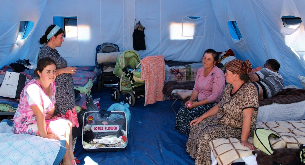 Temporary tent camp in Sevastopol for refugees from Donbass, summer 2014.