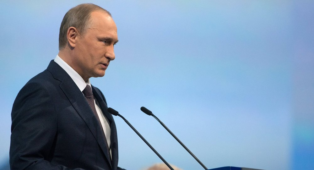 Russian President Vladimir Putin speaks during a session of the St. Petersburg International Economic Forum 2015