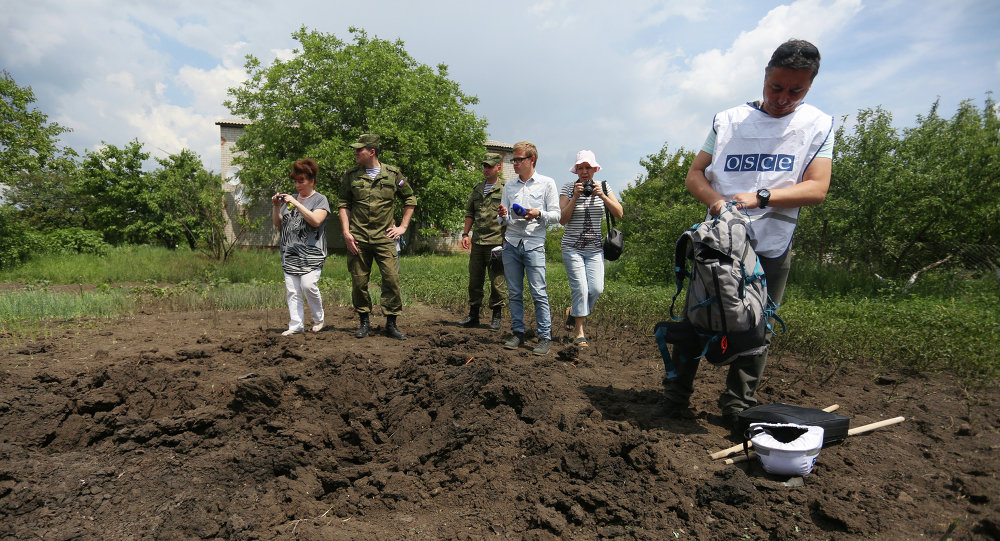A member of the OSCE mission (R) and reporters examine a crater in Telmanove, a village south of Donetsk